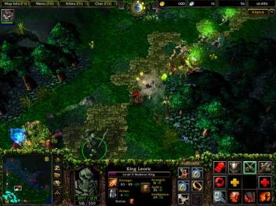 An image of the original DoTA, in Warcraft III- take note of the map in the left corner